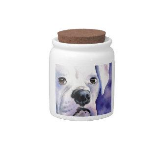 White Boxer Candy Jar