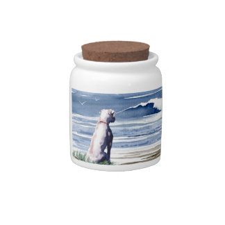 White Boxer Candy Jars