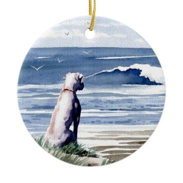 Beach Themed White Boxer Ceramic Ornament