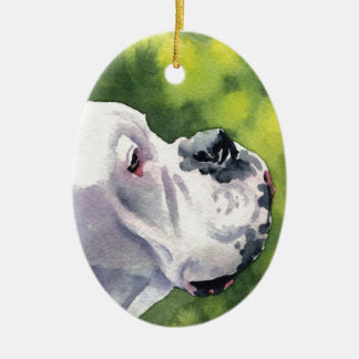 White Boxer Ceramic Ornament