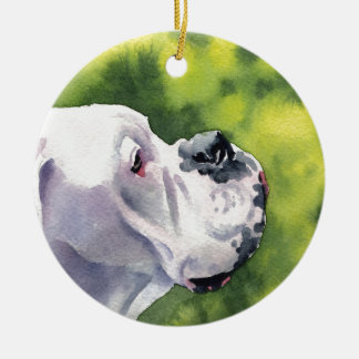 White Boxer Ceramic Ornament