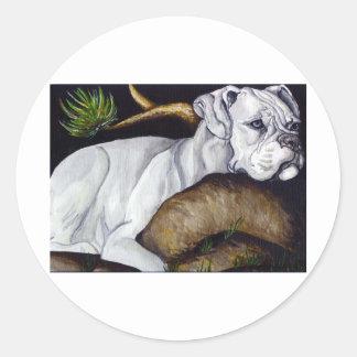 White Boxer Classic Round Sticker
