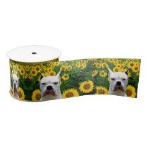 "White  Boxer dog and sunflowers 3"" satin ribbon"