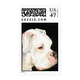 """White Boxer"" Dog Art Postage Stamp"