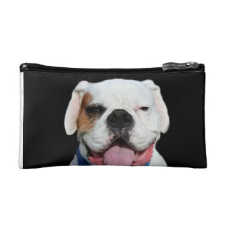 White Boxer Dog Cosmetic Bags