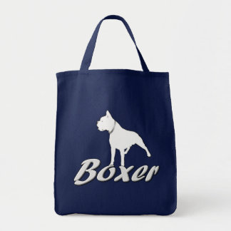 white Boxer Dog Canvas Bags