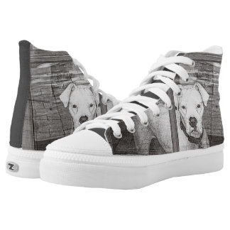 White Boxer Dog Behind Door, Black and White High-Top Sneakers
