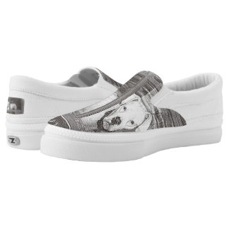 White Boxer Dog Behind Door, Black and White Slip-On Sneakers