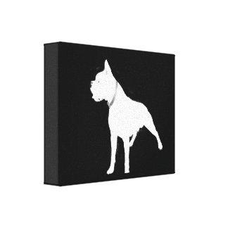 White boxer dog canvas print