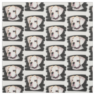 White Boxer dog Custom Fabric