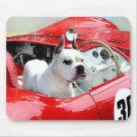 White Boxer Dog in Maserati mousepad