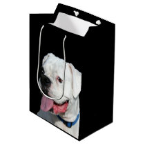 White Boxer dog Medium Gift Bag