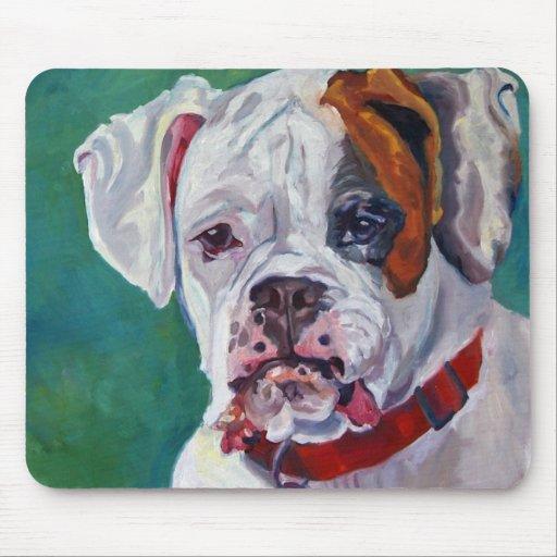 White Boxer Dog Mousepad from Zazzle.com