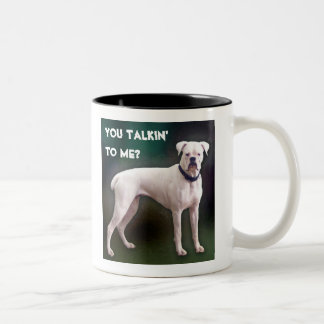 White boxer dog mug
