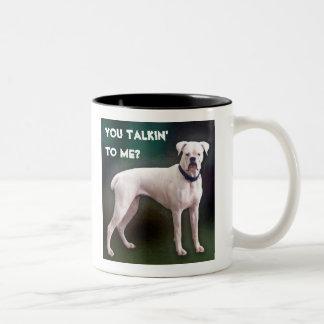 White boxer dog mug