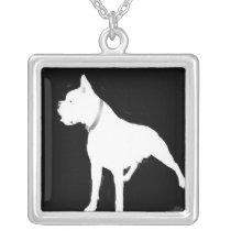 White boxer dog necklace
