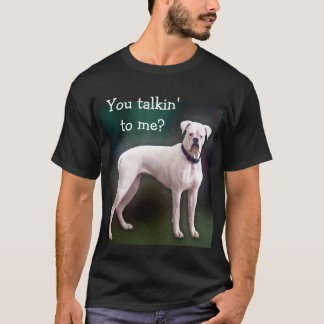 White boxer dog on black T T-Shirt