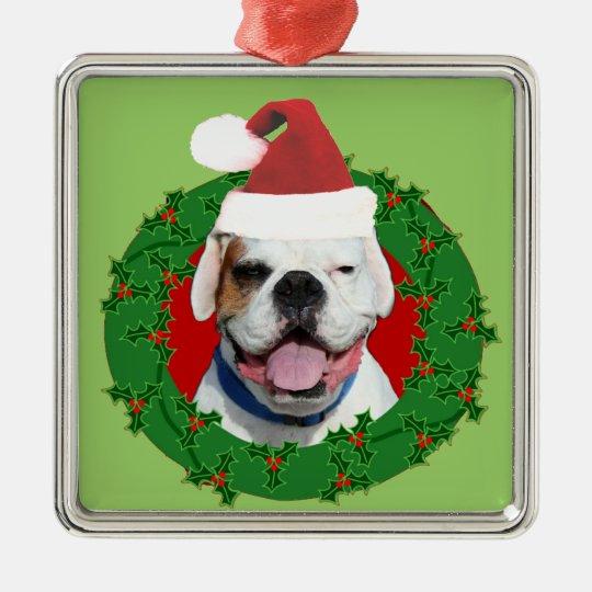 White boxer dog ornament