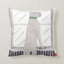 White Boxer Dog Throw Pillow