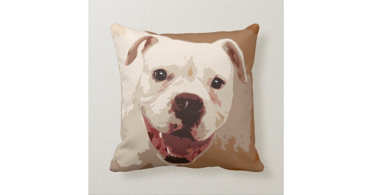 white Boxer Dog Throw Pillow Zazzle