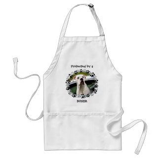 White Boxer in a Car Adult Apron