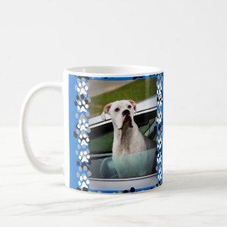 White Boxer in a Car Coffee Mug