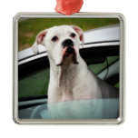 White Boxer in a Car Metal Ornament