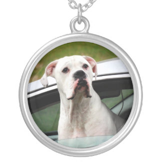 White Boxer in a Car Silver Plated Necklace