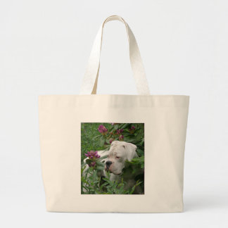 White Boxer in Pink Rhodies Canvas Bags