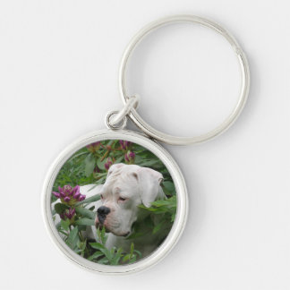 White Boxer in Pink Rhodies Keychain