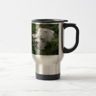 White Boxer in Pink Rhodies Travel Mug