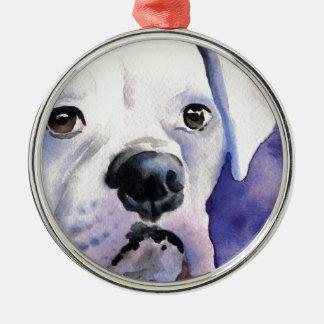 White Boxer Metal Ornament