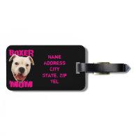 White Boxer Mom Dog luggage tag