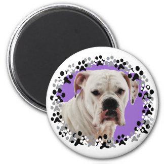 White Boxer Photo 2 Inch Round Magnet