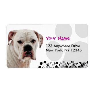 White Boxer Photo Shipping Label