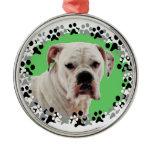 White Boxer Photo Metal Ornament