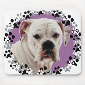 White Boxer Photo Mouse Pad