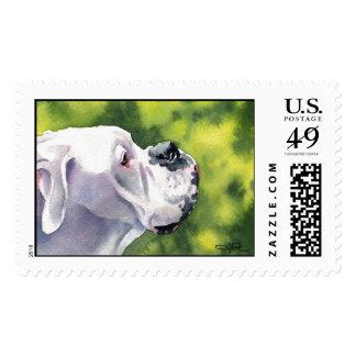 White Boxer Postage Stamp