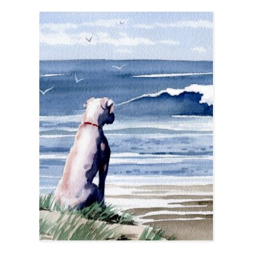 Beach Themed White Boxer Postcard
