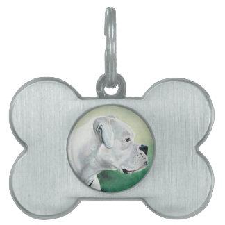 White Boxer Profile Art Dog Tag