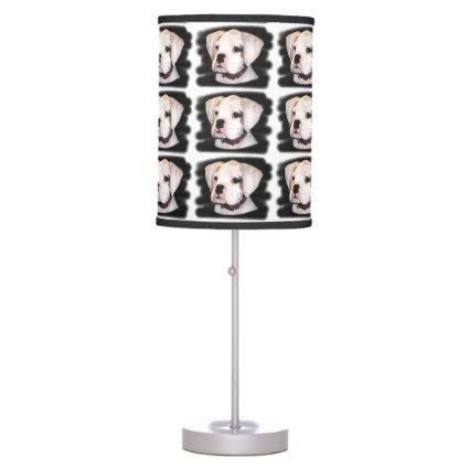 White Boxer puppy Desk Lamp