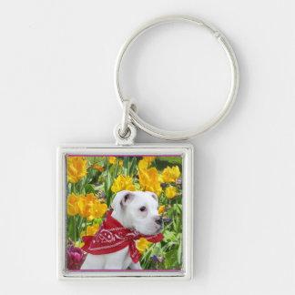White boxer puppy in Tulips keychain