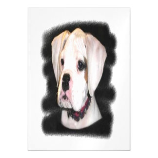 White Boxer puppy Magnetic Card