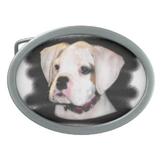 White Boxer puppy Oval Belt Buckle