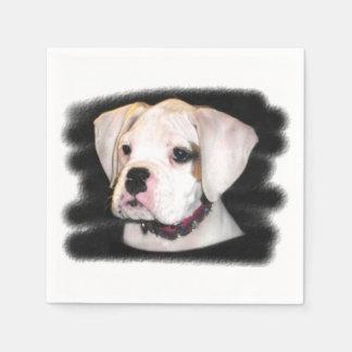 White Boxer puppy Standard Cocktail Napkin