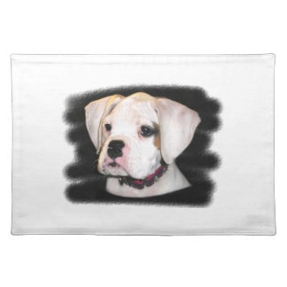 White Boxer puppy Placemat
