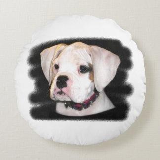 White Boxer puppy Round Pillow