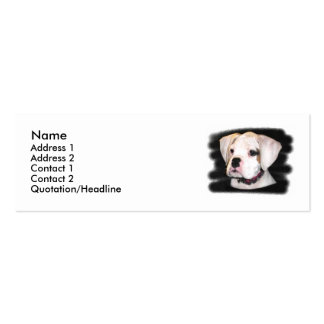 White Boxer puppy skinny Business Cards