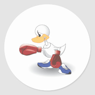 White Boxing Duck Stickers