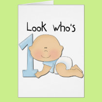 White Boy 1st Birthday Tshirts and Gifts Card